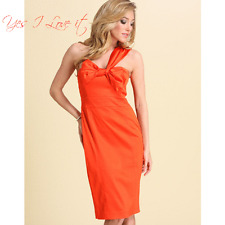 Ted Baker Asymmetric Bow Front Fitted Party Dress in BRTOrange Size1 UK8 RRP£150