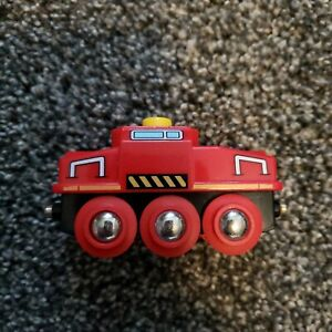 BRIO-Red-Train-Car-With-Red-Wheels-Magnetic-Connections-For-Wooden-Track
