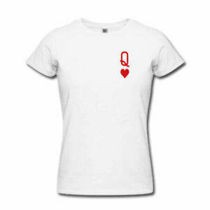 9548f7bb8 Image is loading QUEEN-OF-HEARTS-Tshirt-Ladies-Womens-Tattoo-Playing-