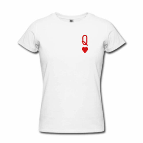 Ladies Womens Tattoo Playing Cards QUEEN OF HEARTS Tshirt Romantic Gift Top