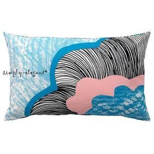 ikea cushion cover doftranka cotton throw pillow cover 16 x 26 white blue new ebay. Black Bedroom Furniture Sets. Home Design Ideas