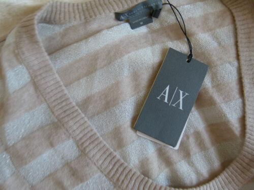 con in Top M cotone righe e Armani taglia Exchange beige Fitting argento lana tE7U8