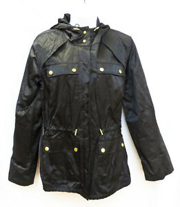 Details zu MICHAEL KORS Womens Black Gold Snaps Hooded Rain Jacket Coat XS