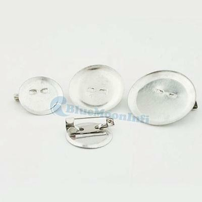 """20 50 100 pcs 20mm 3/4"""" 1"""" 25mm 30mm Metal Round Pin Back Brooch Finding Silver"""
