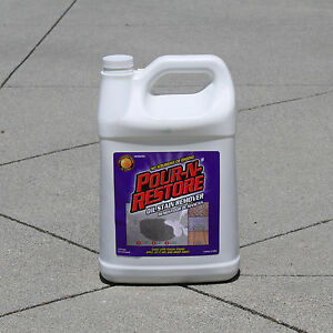 Pour restore driveway concrete oil stain remover 1 for Cleaning oil off cement