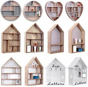 Vintage Storage Units Wooden Wall Mounted Display Shelves Letter