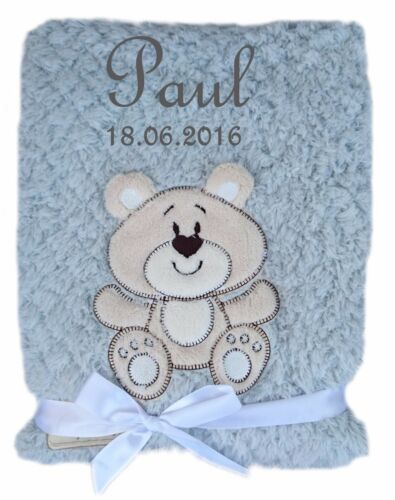 Flauschige Babydecke mit Namen und Datum bestickt Kinderdecke Decke Geburt Taufe