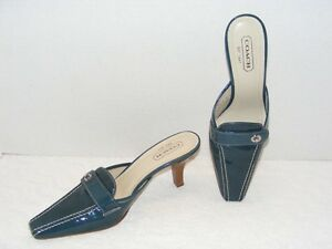 COACH CAMRYN WOMEN S BLUE PATENT LEATHER TURNLOCK SLIDES HEEL SHOES ...