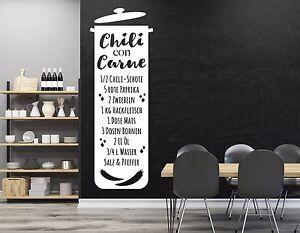 Wandtattoo Küche Esszimmer Wandbanner Wandsticker Rezept Chili con ...