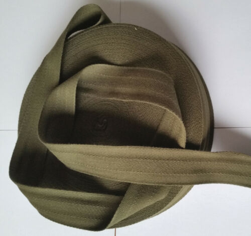 38mm Army GREEN cotton HERRINGBONE Webbing Tape Strap bag craft DIY belt sewing
