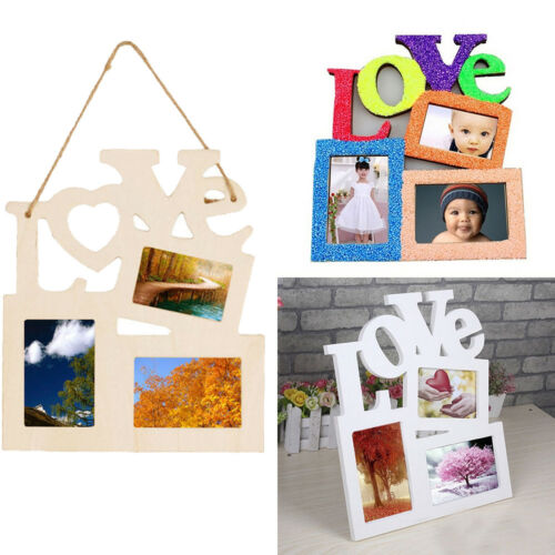 New Lovely Hollow Love Wooden Family Photo Picture Frame Rahmen White Base DIY