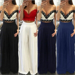 19ec99faa51bb Women Chiffon Solid Palazzo Wide Leg Trousers High Waist Long Loose ...
