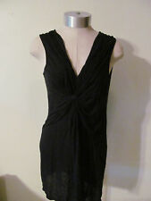 Women's Pull Over Little Black Softly Sheer Mini Dress Knotted Front Size S/M
