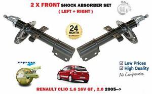 FOR RENAULT CLIO 1.6 2.0 16V GT 2005-> NEW 2 X FRONT SHOCK ABSORBER SHOCKER SET