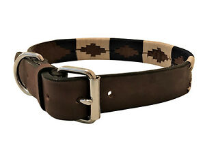 HAND-MADE-LEATHER-DOG-COLLAR-EMBROIDED-POLO-ARGENTINA-LARGE-LABRADOR-ARGENTINIAN