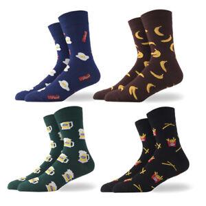 Men-039-s-Fashion-Socks-Cotton-Novelty-Beer-chips-bananas-egg-Patterned-Dress-Socks