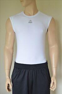 NEW-Adidas-TechFit-Sleeveless-SL-Base-Layer-Compression-Shirt-White-Tee-M