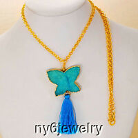 Long Gold Tone Chain Necklace W/butterfly Drusy Agate & Green Tassel Pendant 33