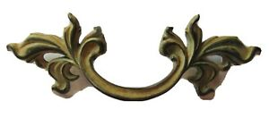 Pair Vtg French Provincial Rococo Drawer Pulls Handles w// Screws Gold Finish