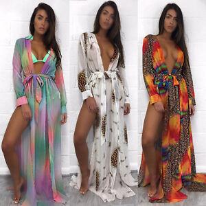 6fc1713eb3 Lady Leopard Print Bikini Cover Up Swim Swimsuit Beach Long Waist ...