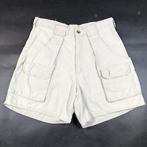Woolrich Cargo Shorts Mens 30 Straw Ivory Cotton Baggy Relaxed Fit