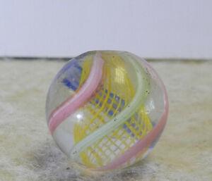 #12911m Vintage German Handmade Yellow Latticino Swirl Marble .52 Inches