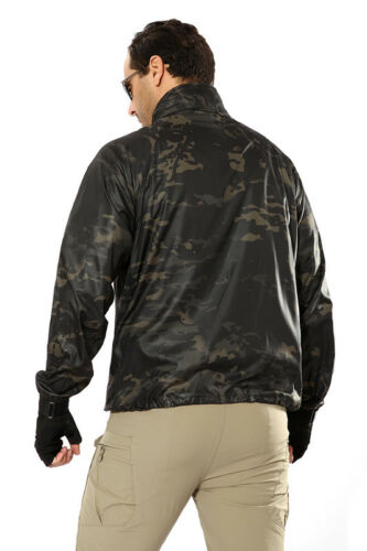 Mens Army Outdoor Jacket Tactical Coat Lightweigh Hooded Sun Protection Hiking