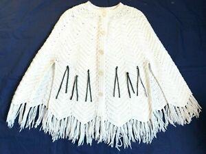 1970s fringe crochet knit poncho fringe sweater loose knit winter white crocheted poncho 1970s vintage clothing one size
