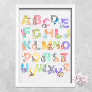 Alphabet Safari Animal PRINT ONLY a4 Picture cute bedroom boys