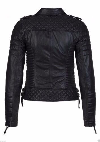 BLACK WOMEN/'S Slim Fit Biker Diamante Trapuntato Kay Michaels Giacca in Vera Pelle