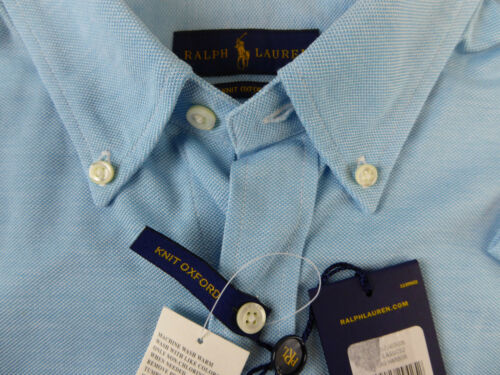 Polo Ralph Lauren Long Sleeve Knit Oxford Cotton Shirt w// Pony $98 NWT 2 Colors