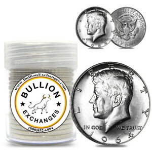 10-Face-Value-1964-Kennedy-Half-Dollars-90-Silver-20-Coin-Roll-Uncirculated