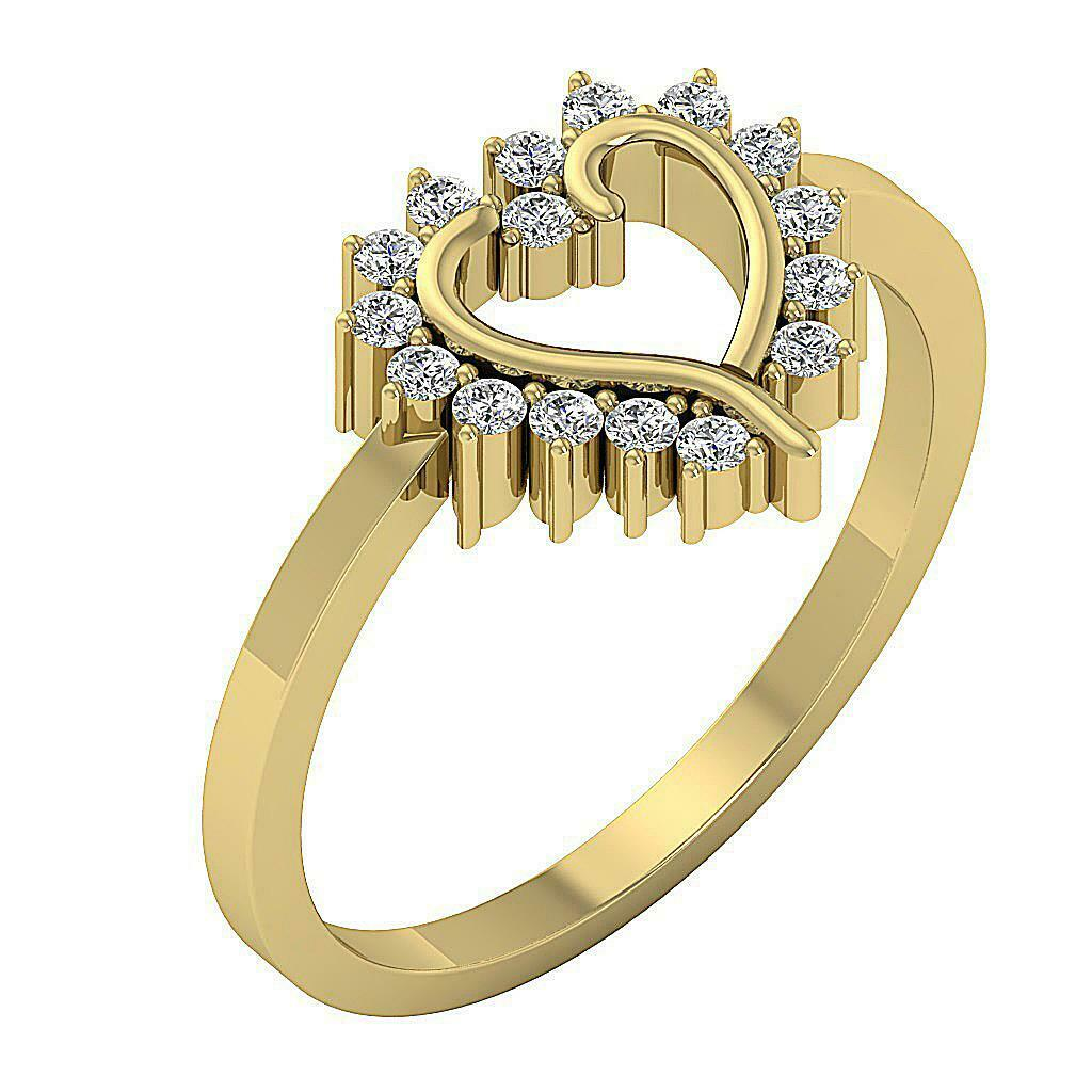 I1 G 0.25 Ct Round Cut Diamond Engagement Ring 14K Yellow gold Prong Set 9.80MM