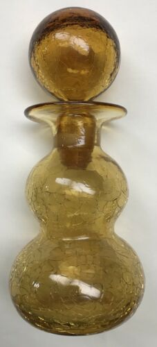 Vintage Blenko Crackle Art Glass Decanter Amber with Ball Stopper