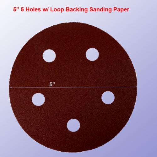 """30x 5/"""" 5 Hole 120 Grits Sandpaper Disc Sanding Sander Hook Loop for Porter Cable"""
