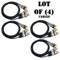 Lot Of (4) Pyle Pprcx05 Dual Audio Link Cable Xlr Female To Rca Male 5ft. Each