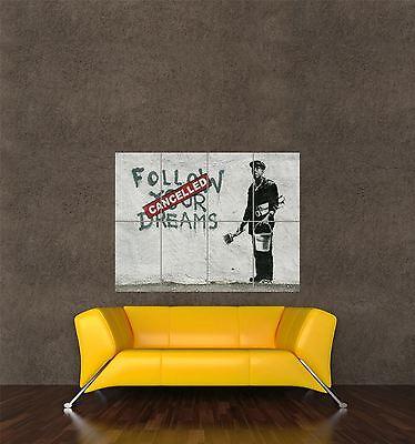 "Banksy Follow Your Dreams Cancelled Street Art Graffiti 12x18/"" Real Canvas Print"