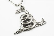 DON'T TREAD ON ME Rattlesnake Tea Party Navy USA Patriotic Pendant Necklace