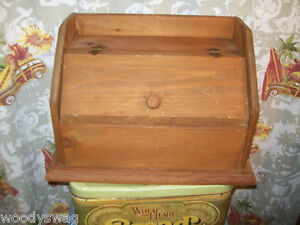 Details About Wooden Bread Box Primitive Wood Kitchen Shab Vintage Shelf On Top Breadbox