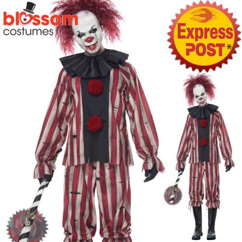 CA1172 Mens Nightmare Clown Killer Circus Halloween Horror Scary Jester Costume