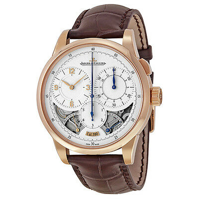 Jaeger LeCoultre Duometre Silver Dial 18kt Rose Gold Brown Leather Mens Watch
