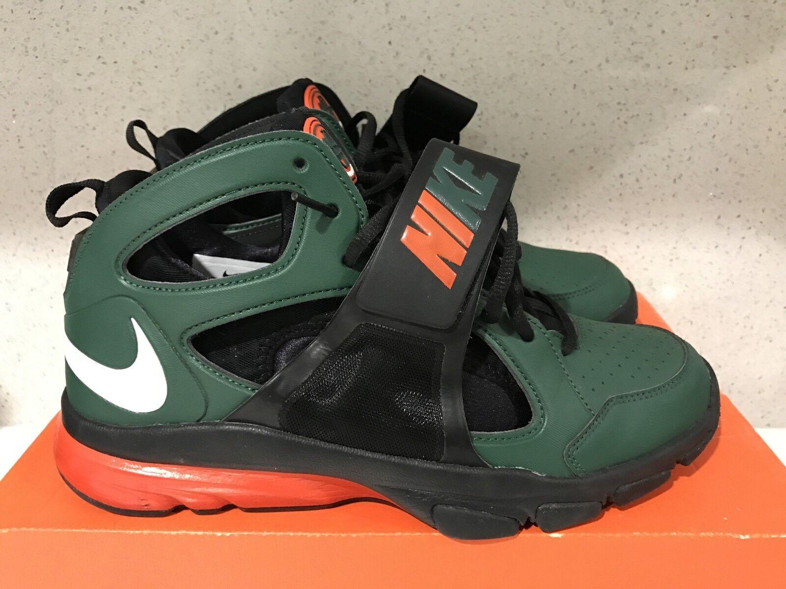 Nike Zoom Huarache TR Mid SZ 9 University Of Miami UM Canes 414975-318