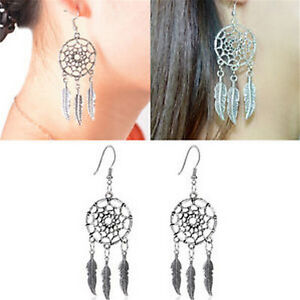 Delicate-Jewelry-Retro-Silver-Plated-Dream-Catcher-Drop-Dangle-Earring-Gift-LJ