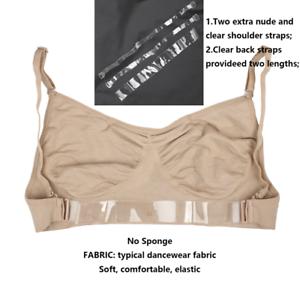 NUDO CARNE Pelle include libero chiaro cinghie Professional Schiena Scoperta Danza Reggiseno UK