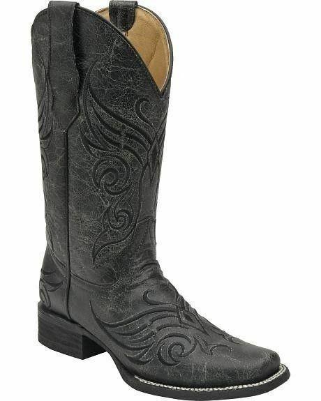 Círculo G por Corral dedo del pie cuadrado craquelado señoras Vaquera Occidental botas Negro L5155