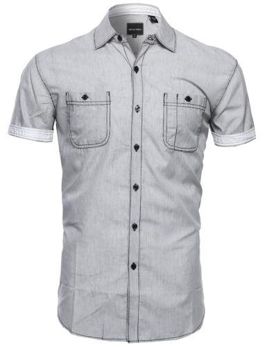 L - 4XL FashionOutfit Men/'s Casual Thin Stripe Button Down Short Sleeve Shirt
