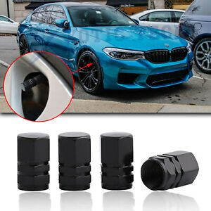 4pcs Black Aluminum Air Dust Valve Cap Tire Tyre Wheel Stem Cover Car Truck Bike