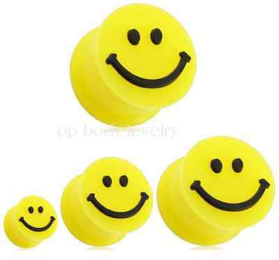 """1 PAIR Smiley Face Flexible Yellow Silicone Double Flared  Ear Plugs 2g to 5/8"""""""