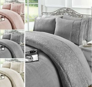 Teddy Embroidered Lace Fleece Duvet Quilt Cover Grace Cosy Bedding Pillowcase
