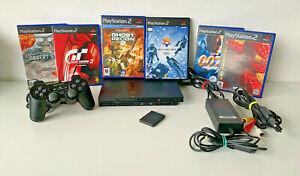 Slimline Negro Sony Playstation 2 (PS2) Paquete-conduce, controlador y 6 juegos (a)